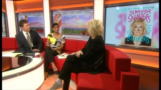 Jennifer on the famous red sofa of BBC Breakfast, Watch a clip by clicking on the image.